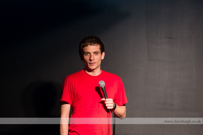 Daniel Simonsen performing at Bar Nusha as part of the Cambridge Comedy Festival, July 2013.