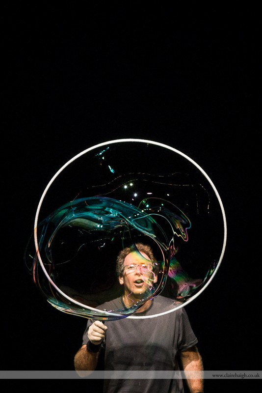 The Amazing Bubbleman performing at Cambridge Junction as part of the Cambridge Comedy Festival, July 2013.