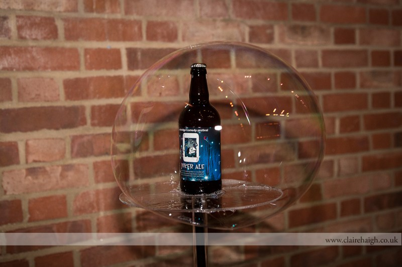 Joker Ale inside a bubble made by The Amazing Bubbleman at Cambridge Junction as part of the Cambridge Comedy Festival, July 2013.