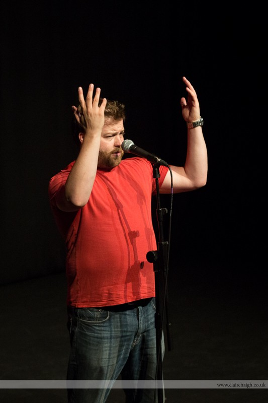 Tiernan Douieb performing at Cambridge Junction with the Comedy Club 4 Kids as part of the Cambridge Comedy Festival, July 2013.