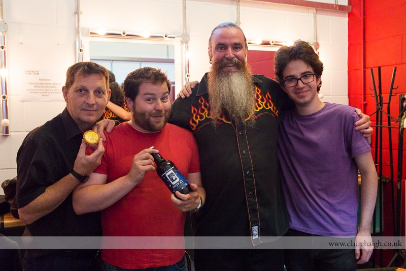 Otiz Cannelloni, Tiernan Douieb, Martin Mor and Franki Brickman backstage at Cambridge Junction after having performed at the Comedy Club 4 Kids as part of the Cambridge Comedy Festival, July 2013.