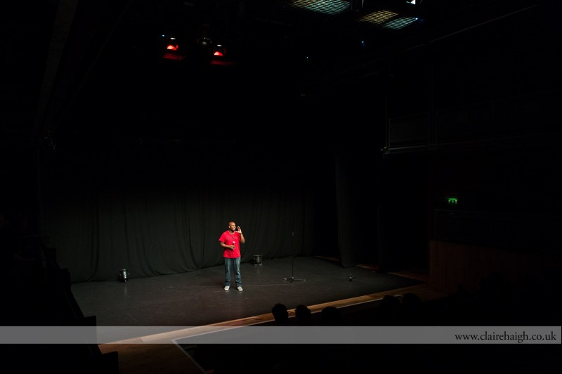 Marlon Davis performing at Cambridge Junction as part of the Cambridge Comedy Festival, 19 July 2013.
