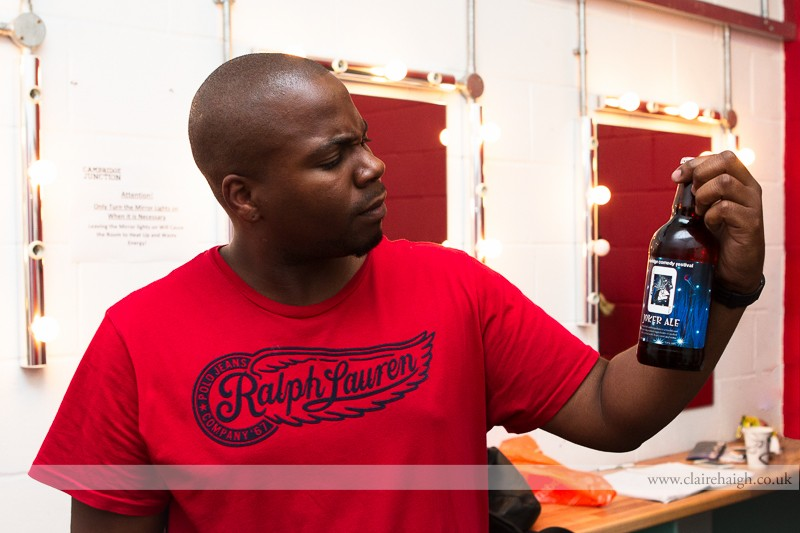 Marlon Davis backstage at Cambridge Junction during the Cambridge Comedy Festival, 19 July 2013.