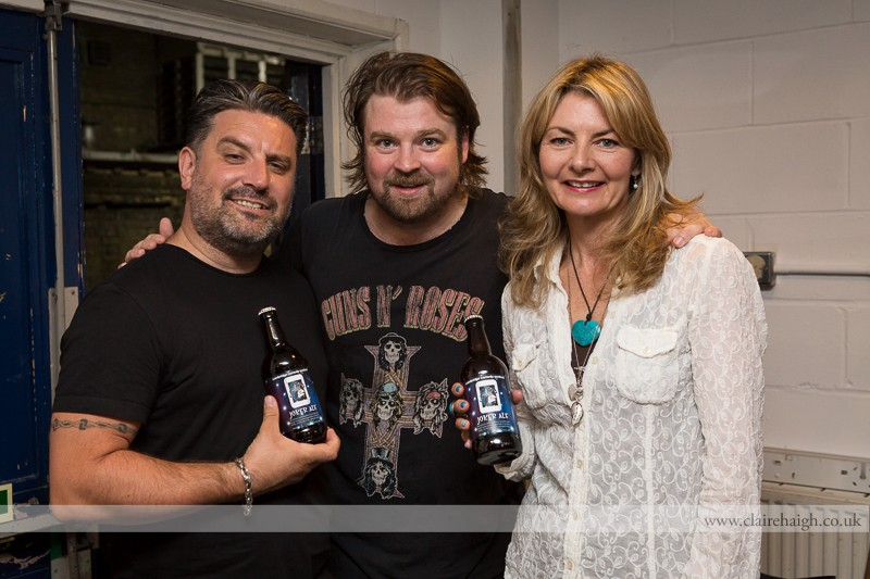 Rich Wilson, Glenn Wool and Jo Caulfield backstage at the Cambridge Corn Exchange during the Cambridge Comedy Festival, July 2013.