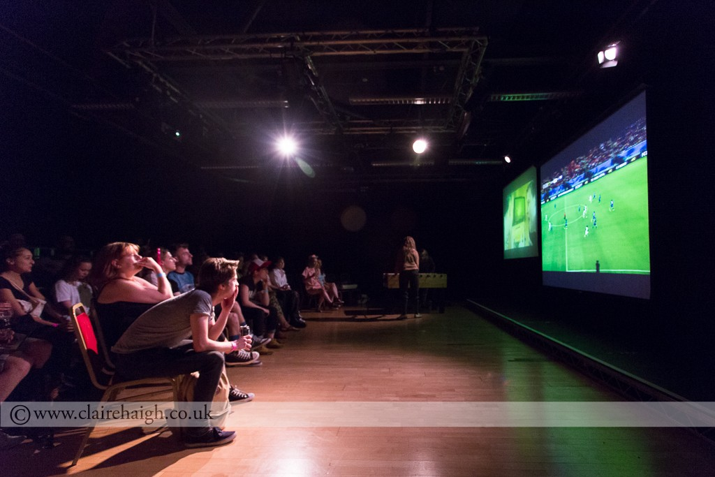 Richard Dedomenici and Kim Noble commentating during the England V Italy World Cup Game during the Nightwatch Festival at Cambridge Junction, July 3024