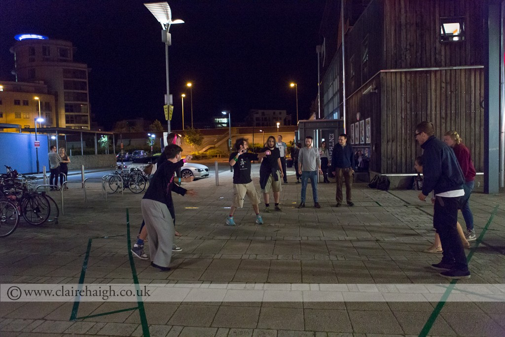 First ever game of Tri Ball during the interval of England V Italy World Cup Game during Nightwatch Festival at Cambridge Junction, July 2014