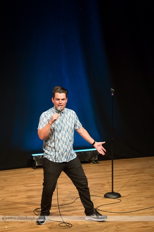 Charlie Baker performing at Cambridge Junction as part of the Cambridge Comedy Festival