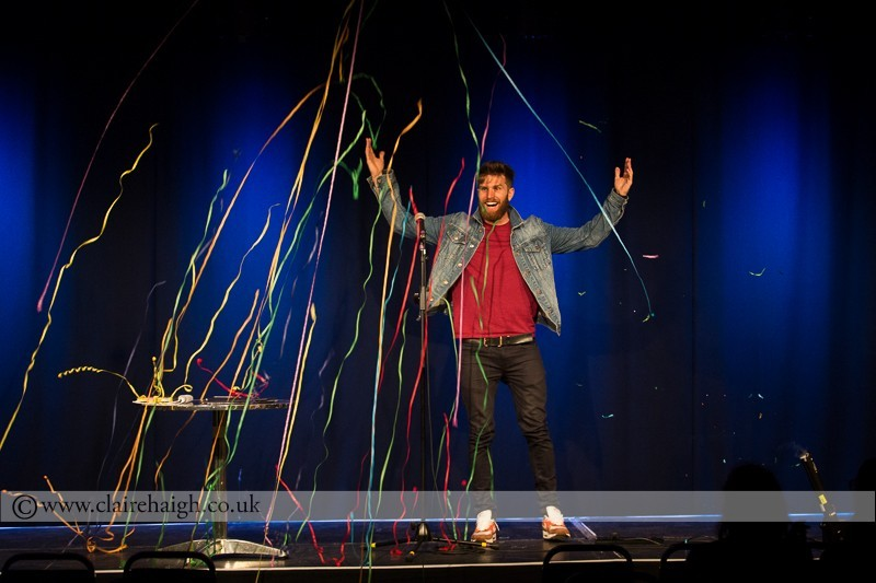 Joel Dommett performing at Cambridge Junction as part of the Cambridge Comedy Festival