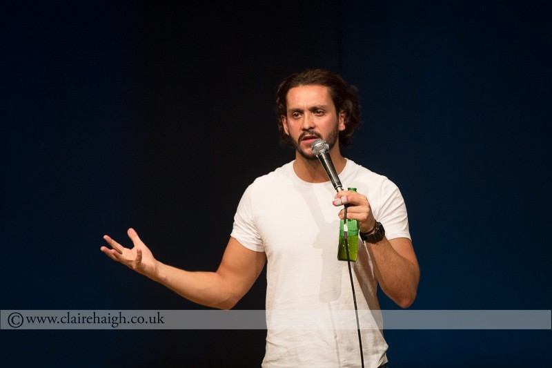 Darius Davies performing at Jesterlarf New Act Showcase at Cambridge Junction as part of the Cambridge Comedy Festival