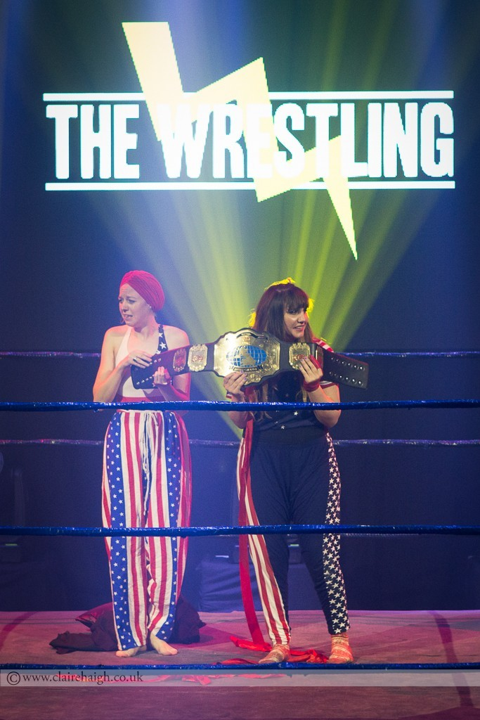 Half time entertainment. The Sexy American Girls (Ellie White and Natasia Demetriou) at The Wrestling, Pleasance 2015