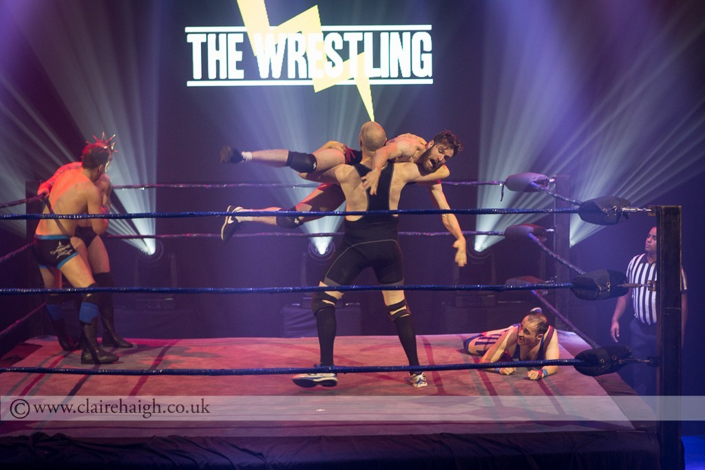 'The All-American ' Chad Buckworth III (Joel Dommett) and 'The Parrylel Parker' Tom Parry at The Wrestling, Pleasance 2015