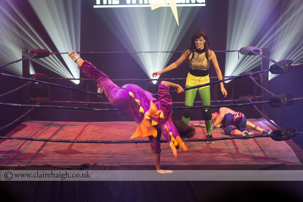 Dragon Dragon (Lou Sanders) leaving the ring at the hands of Aisling Bea at The Wrestling, Pleasance 2015