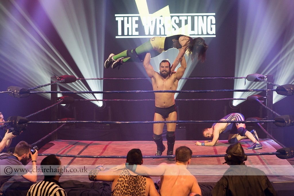 Aisling Bea getting a lift from Marty Scurll at The Wrestling, Pleasance 2015